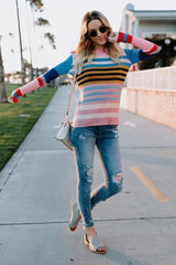 Color Flush Stripe Pullover Top