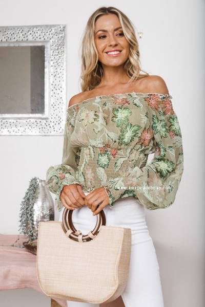 Labella Smocked Off Shoulder Top