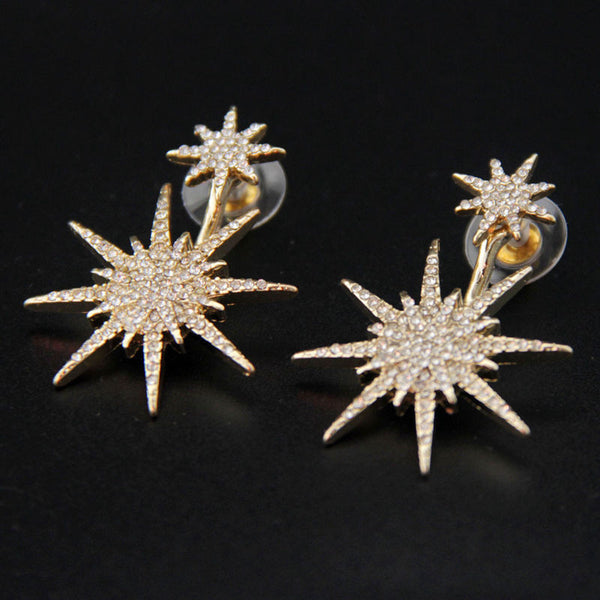 Gold Plated Sunburst Rhinestone Earring