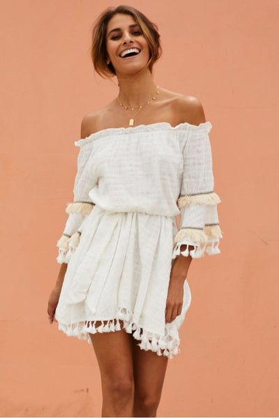 Arina Off Shoulder Tassel Dress