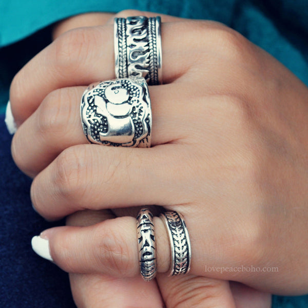 4pcs Elephant Ring Set