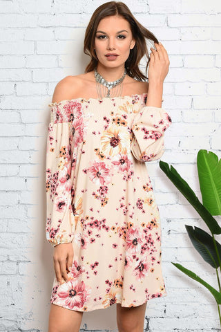 [FINAL SALE] Annelise Peach Floral Dress