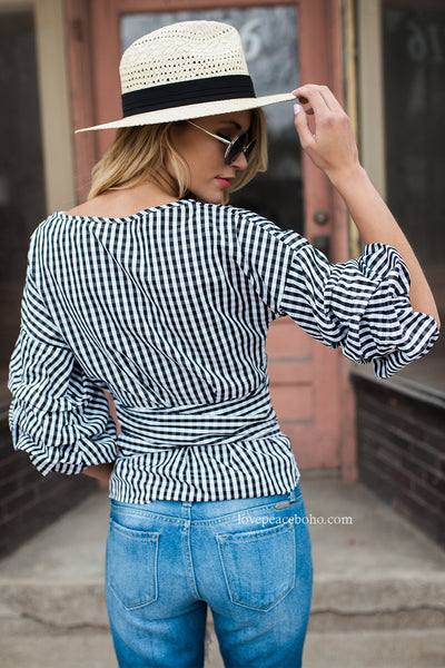 Ethelda Plaid Bow Blouse