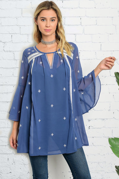Starry Indigo Sheer Tunic