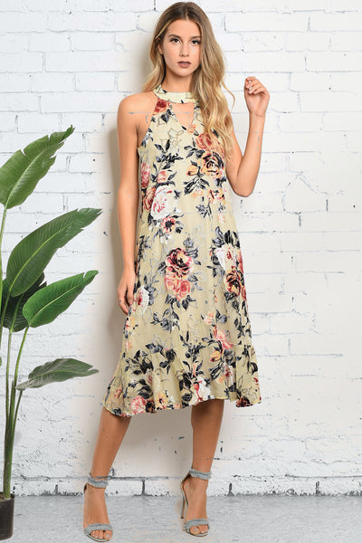 [FINAL SALE] Taupe Floral Velvet Dress