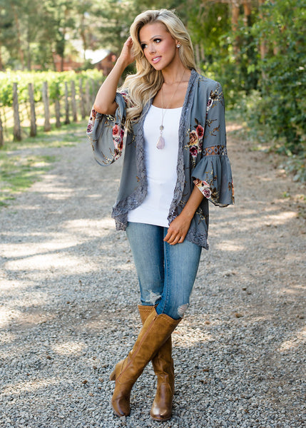 Darcee Floral Fluted Cardigan