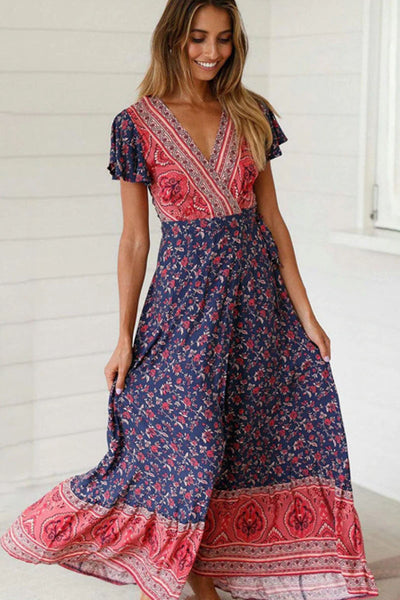 Girl wearing the Dakota Boho Maxi Dress.