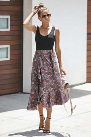 Floral Scent Wrap Skirt
