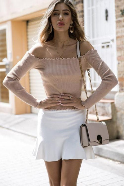 Sevelna Off Shoulder Ribbed Top