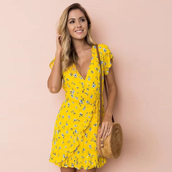 Saanya Yellow Wrap Dress