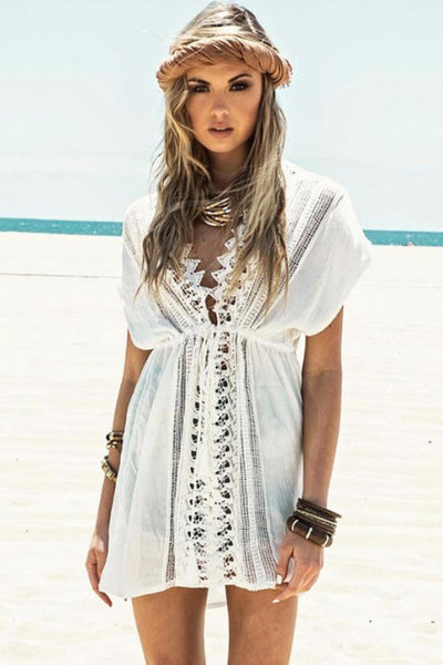 Lace Beach Cover-Up, Above Knee, Beach Cover-Up, V-Neck, Mini Cover-Up, Lace Cover-Up, lovepeaceboho