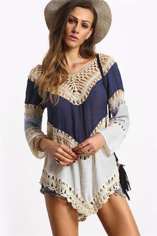 Val Crochet Panel Top, Long Sleeve, V-Neck, lovepeaceboho