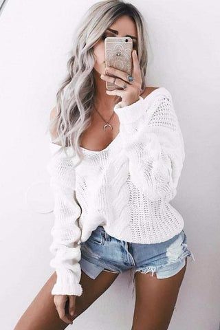 Sibylle White Knitted Sweater