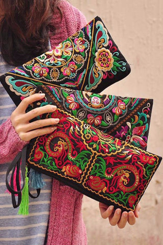 Embroidered Pattern Clutch, Bags, lovepeaceboho