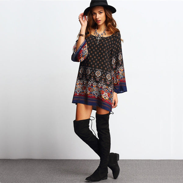 [FINAL SALE] Classic Prints Flare Sleeves Dress