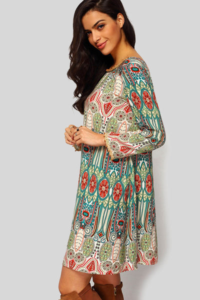 Bohemian Ornate Print Vestido Dress