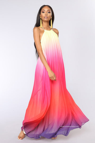 Lily Ombre Pleated Dress