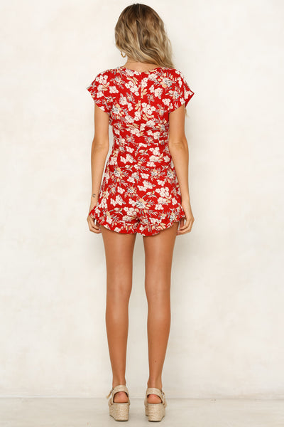 Chasing Florals Red Playsuit