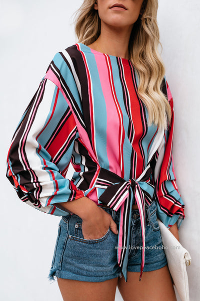 Zila Striped Bow Top