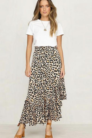 Cheska Leopard Midi Skirt