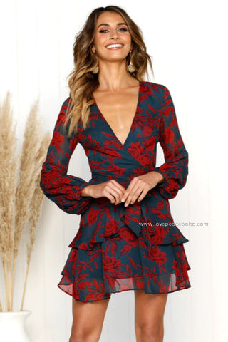 Tierry Rose Wrap Dress