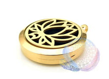 Load image into Gallery viewer, Gold Lotus 30mm Stainless Steel Essential Oil Diffuser Locket