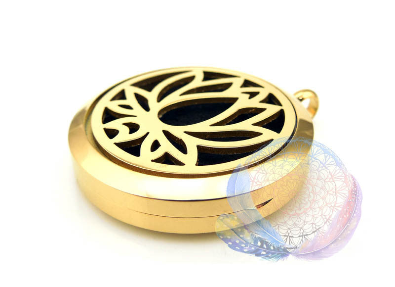 Gold Lotus 30mm Stainless Steel Essential Oil Diffuser Locket