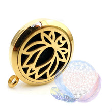 Load image into Gallery viewer, Gold Lotus 30mm Stainless Steel Essential Oil Diffuser Locket, Necklace, lovepeaceboho, lovepeaceboho