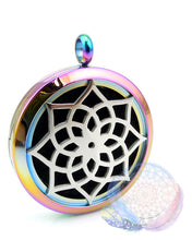 Load image into Gallery viewer, Lotus 30mm Stainless Steel Essential Oil Diffuser Locket, Locket Diffuser, lovepeaceboho
