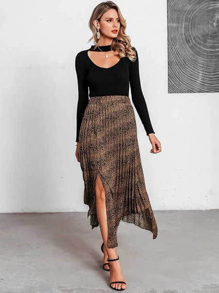 Alena Pleated Asymmetrical Skirt