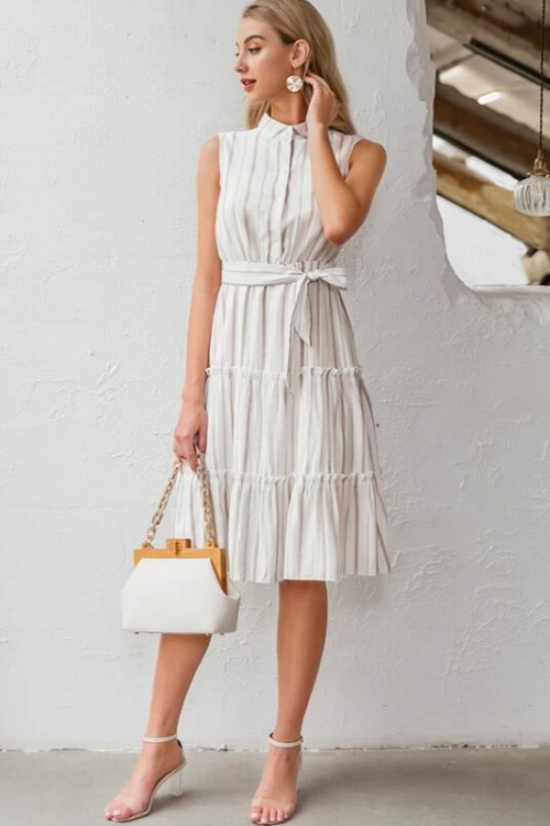 Anya Striped Midi Dress