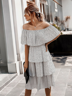 After Dark Off-Shoulder Tiered Dress