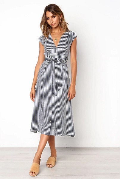 Benilda Striped Midi Dress