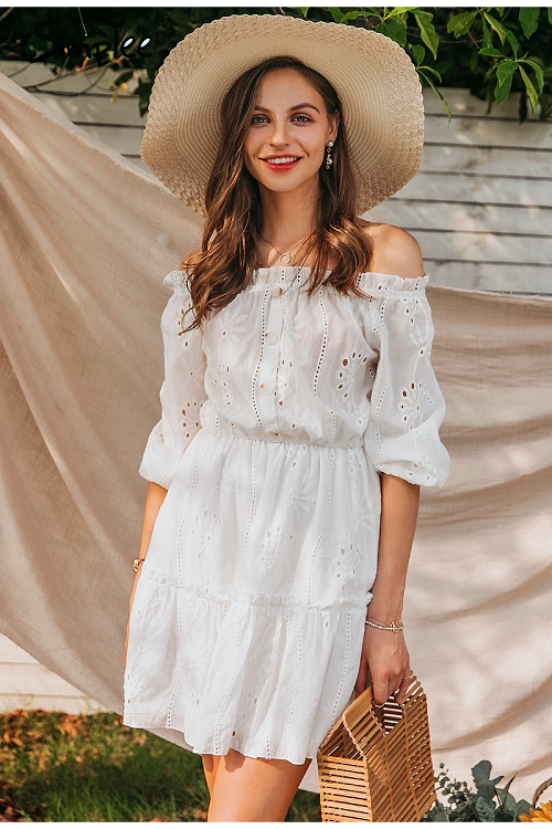 Carie Off Shoulder Frilled Dress