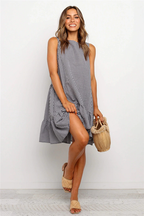 Carina Plaid Ruffled Dress