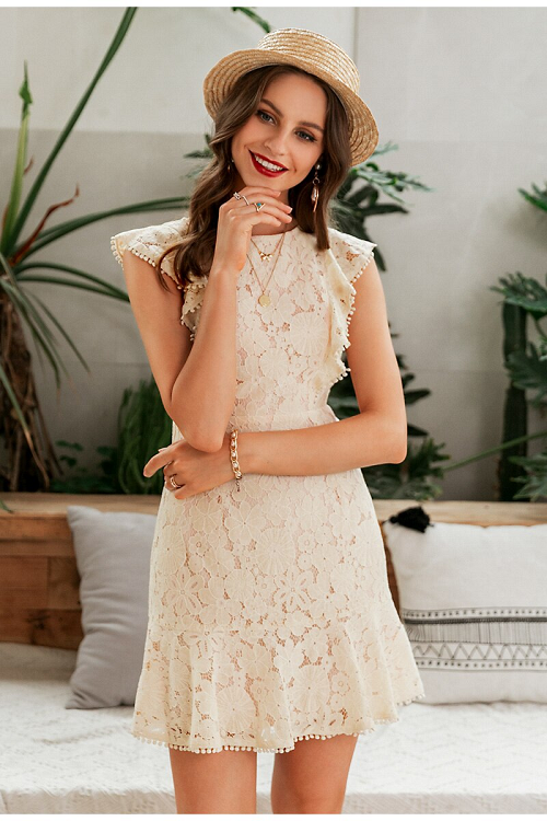 Carlile Ruffled Lace Dress