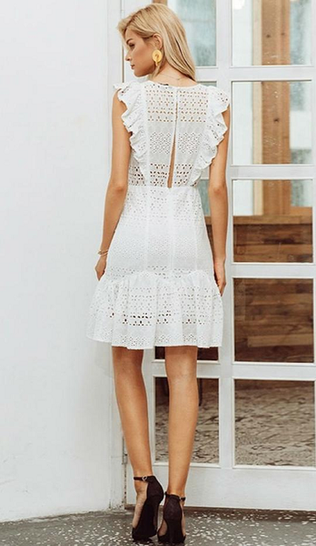 Drina Ruffled Eyelet Dress