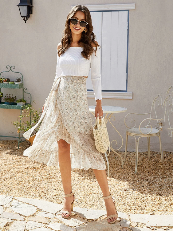 Ellaine Ruffled Slit Skirt