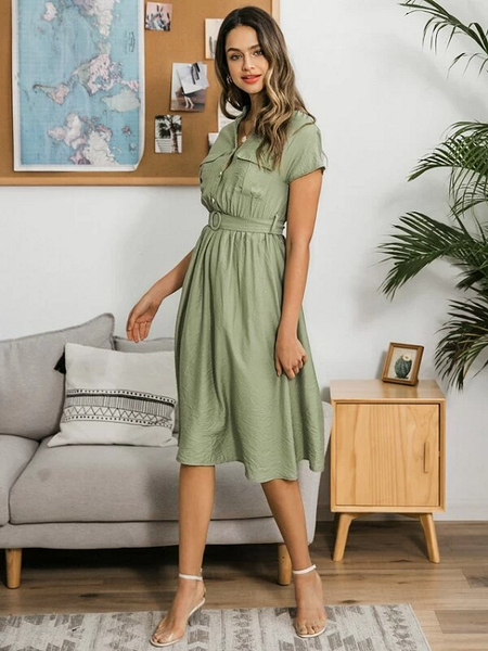 Freja Belted Midi Dress