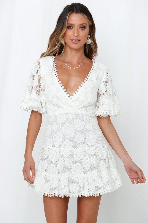 Intuition Bell Sleeve Crochet Lace Dress