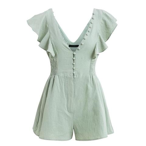 Girlie Mint Button Up  Playsuit