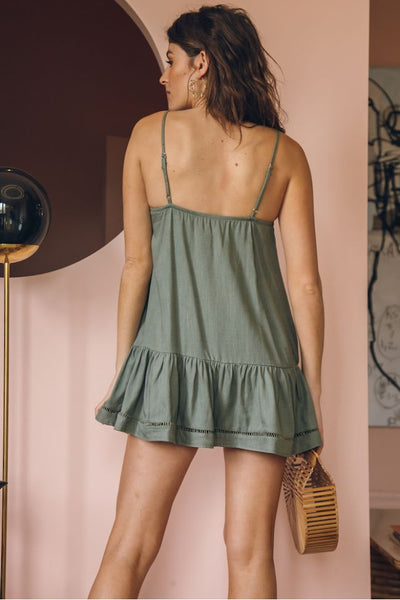 Melati Lace-Up Mini Dress