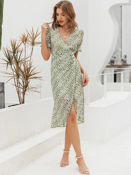 Jocefina Puff Sleeve Wrap Dress