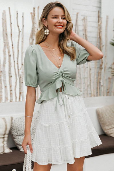 Karis Puff Sleeve Ruched Top