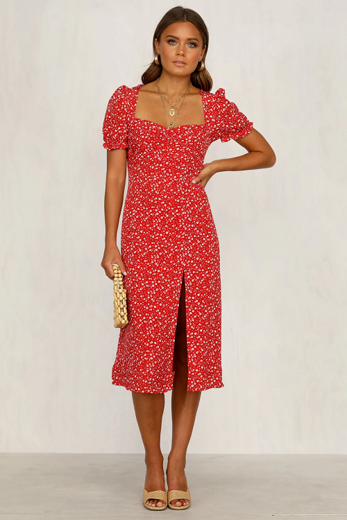 Lilia Square Neckline Midi Dress