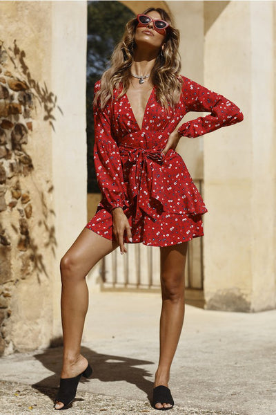 Petra Ruffled Red Dress