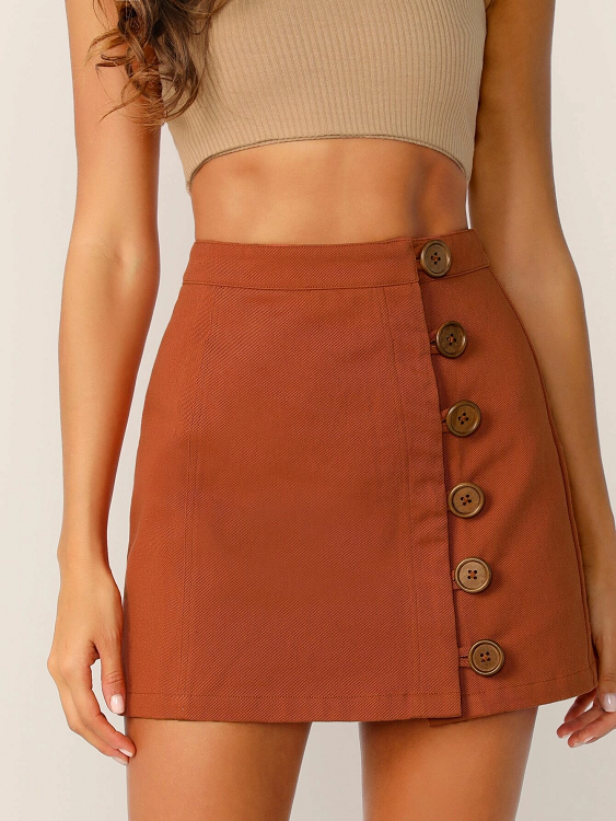 Marcy Buttoned A-Line Skirt