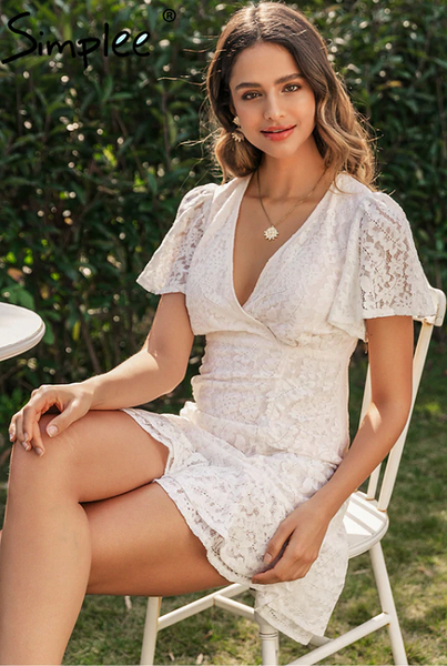 Simple Favor Ruched Lace Dress