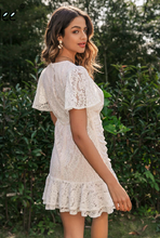 Load image into Gallery viewer, Simple Favor Ruched Lace Dress