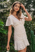 Load image into Gallery viewer, Girl looking sweet, innocent and boho wearing Monina Ruched Lace Dress